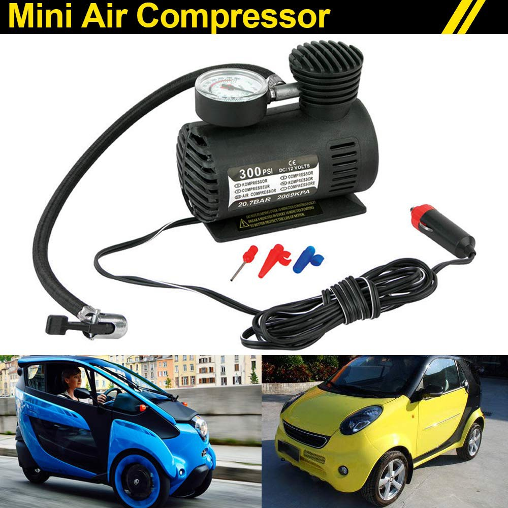 Drip-Dry Intelligent 1pc 300 Psi Car Air Compressor 12v Dc Electric Pump Tyre Inflator For Car Motorcycle black