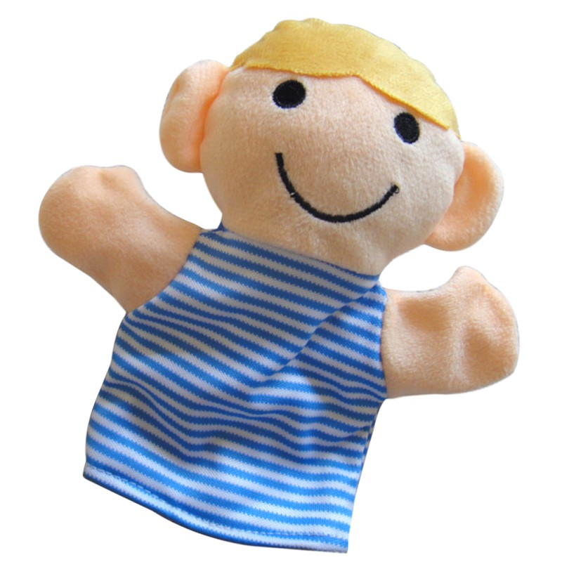 Super Q plush toy animal hand puppet smiling monkey baby telling story game 1PC