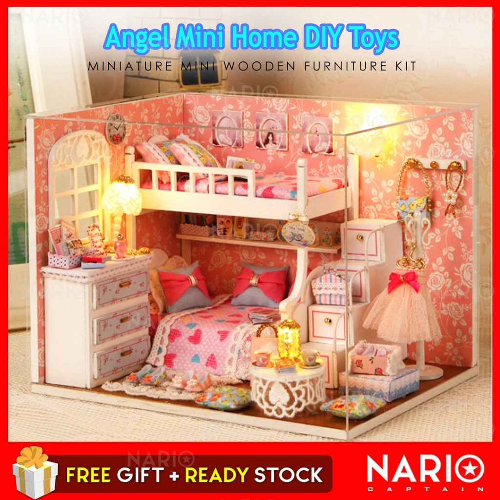 NARIO DIY Angel Dollhouse Miniature Mini Wooden Furniture Kit with LED H006