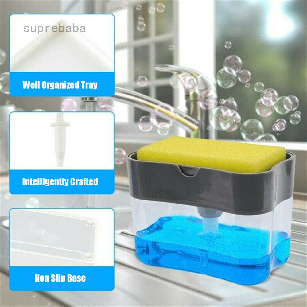 Soap Pump Dispenser,Sponge Caddy,13 Ounces Dishwashing Soap Dispenser,Soap Dispenser Sponge Holder 2 in1,Dish soap Dispenser Caddy,Countertop soap Dispenser
