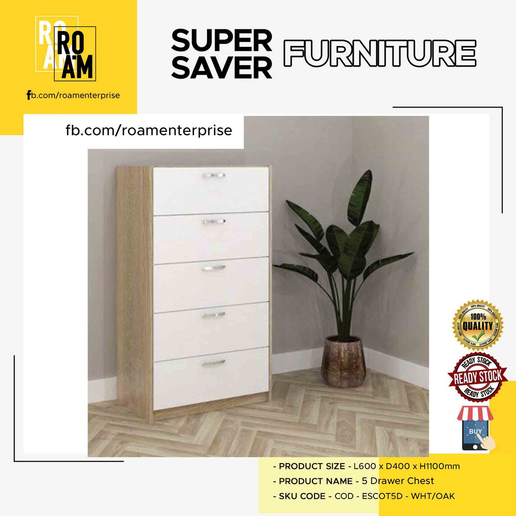 ESCOT 5 chest of drawer laci gaya fashionable instagramable luxury new house renovation- oak and white color