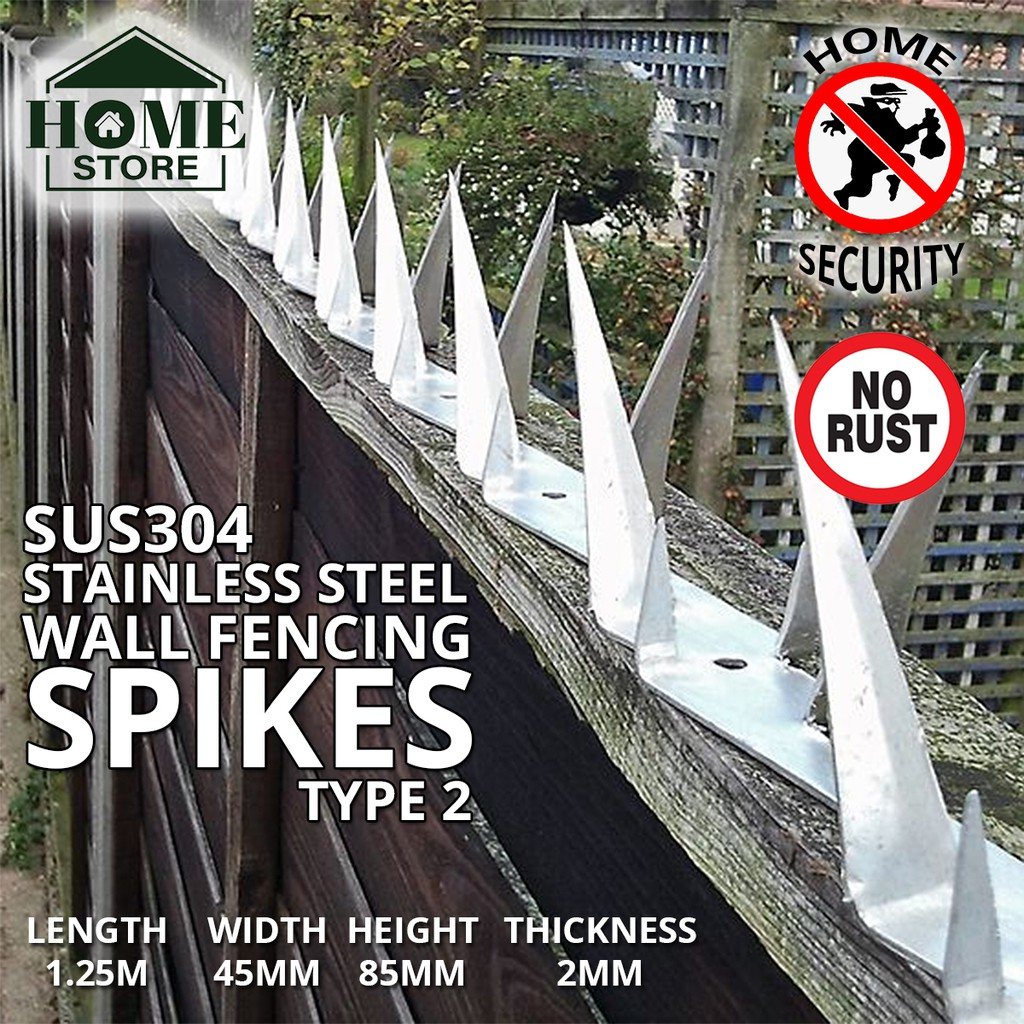 Home Store SUS304 Stainless Steel Security Wall Fencing Spikes Type 2 1.25M (L) x 45MM (W) x 85MM (H) x 2MM (T)