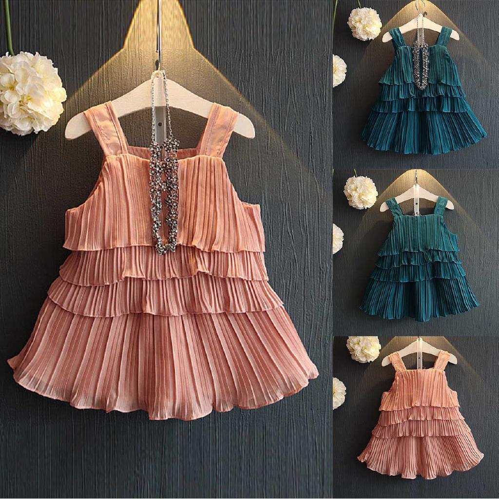 ea90057e3da39 Toddler Kids Baby Girl Outfits Clothes Ruffles Vest Skirt Set ...