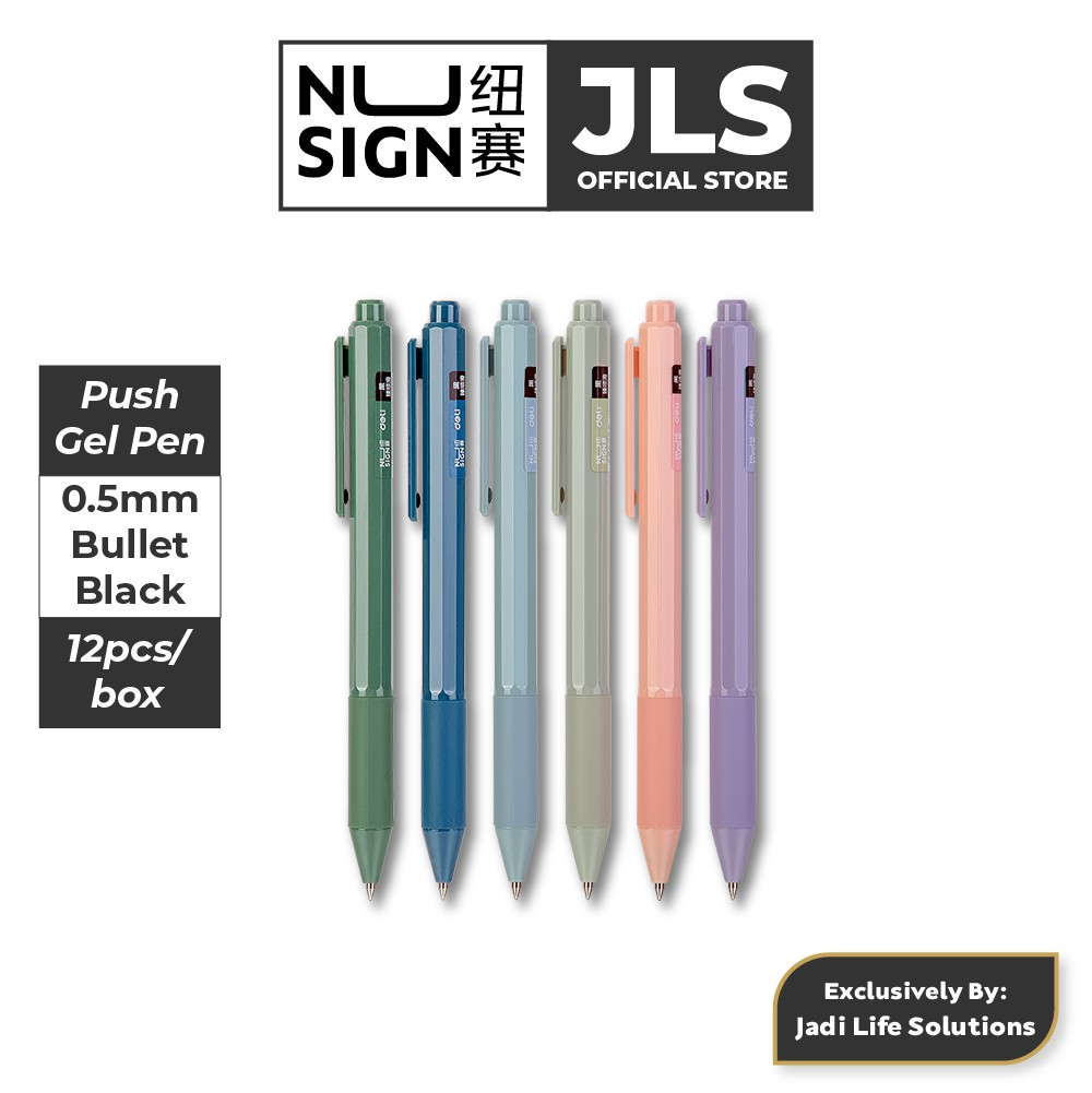 Jadi Nusign Cute Push Clip Gel Pens Multi Color 12-Pcs