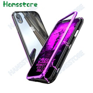 classic fit 0b83c 9077c iPhone X XR XS MAX 8 Plus 7 6Plus Magnetic Case Tempered Glass Back ...