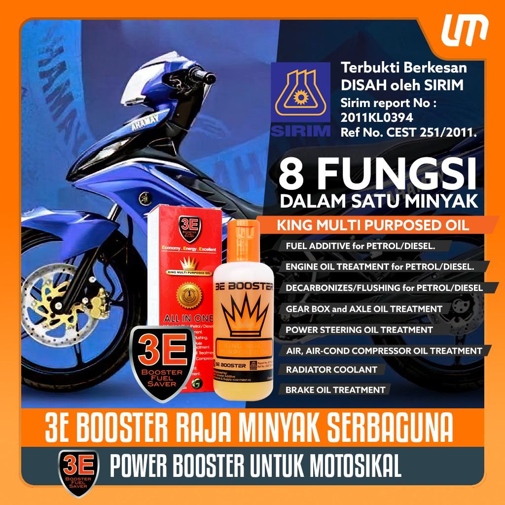 【 3E Power Booster Oil 】Jimat Minyak Decarbonizer dan Tambah Pickup untuk  Yamaha/Honda LC135/Y15ZR/RXZ/EX5 DLL