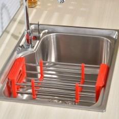 READY STOCK SHP] RAK SINKI / Kitchen Sink Rack Stainless Steel Foldable Dish Cutlery Drainer Drying Holder