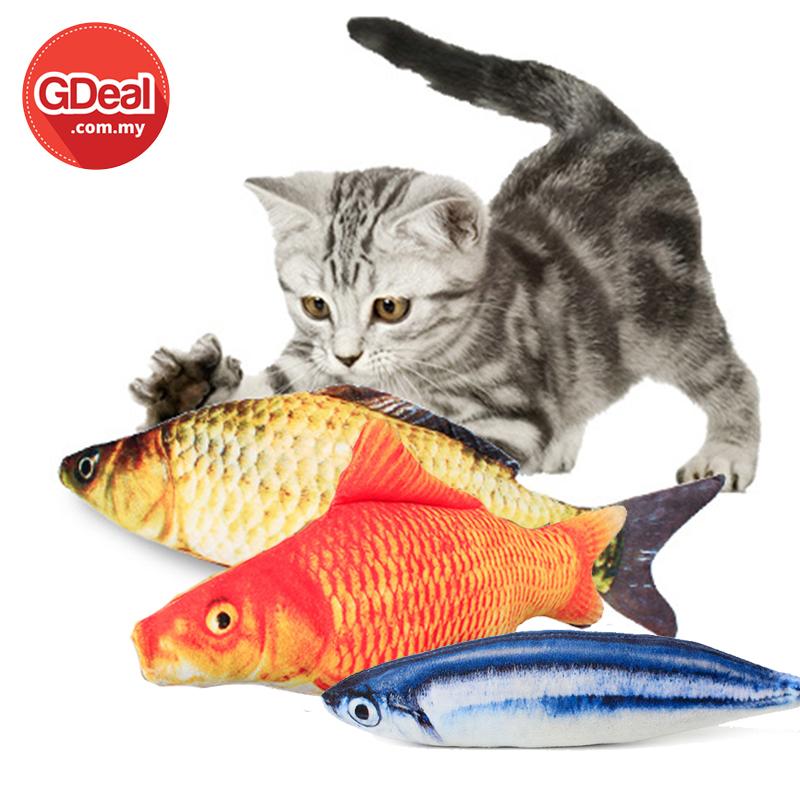GDeal Multifunctional Cat Bite Fish Shape Pillow Pet Plush Simulation Fish Soft Toy With Mint Permainan Untuk Kucing