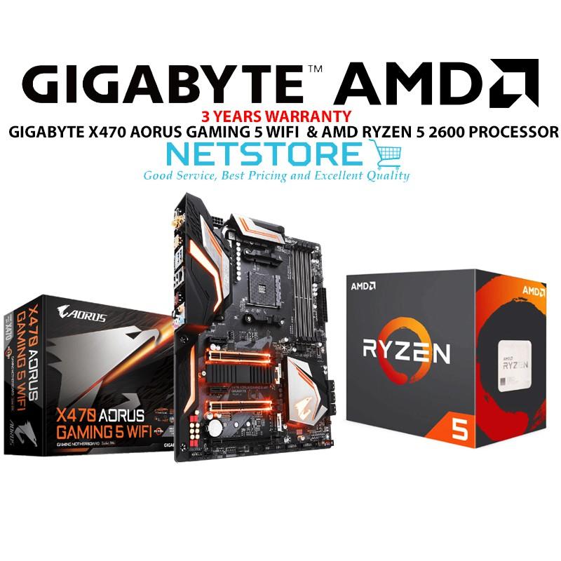 PWP GIGABYTE X470 AORUS GAMING 5 WIFI ATX & AMD RYZEN 5 2600 PROCESSOR