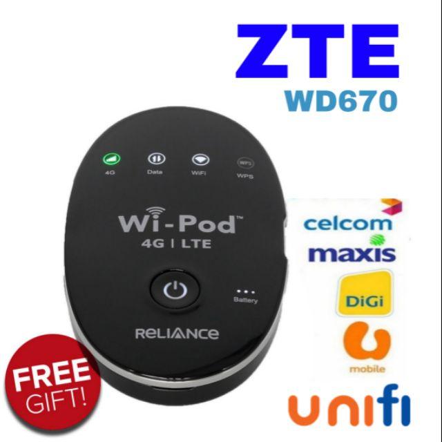ZTE WD670 4G LTE Wifi Portable Wi-Pod Modem Router