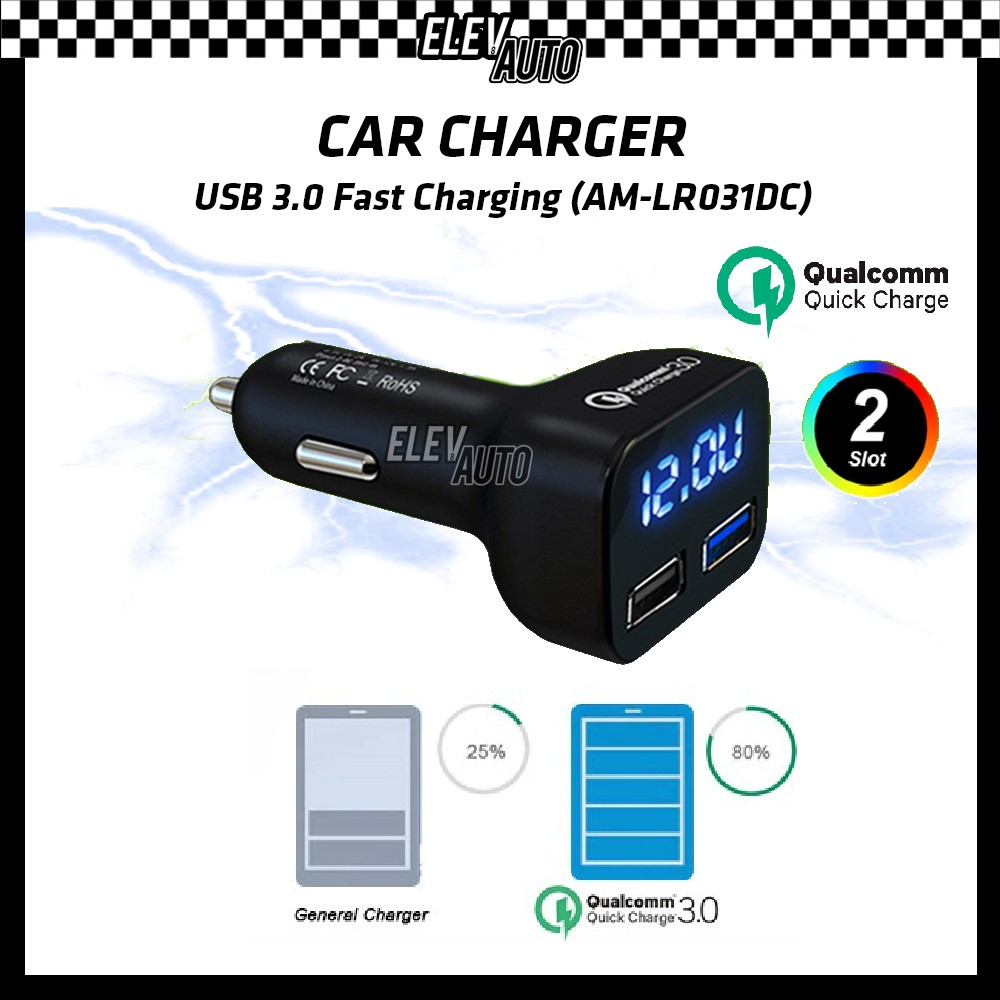 Car Charger Quick Charge Fast Charging 3.0 USB (AM-LR031DC)