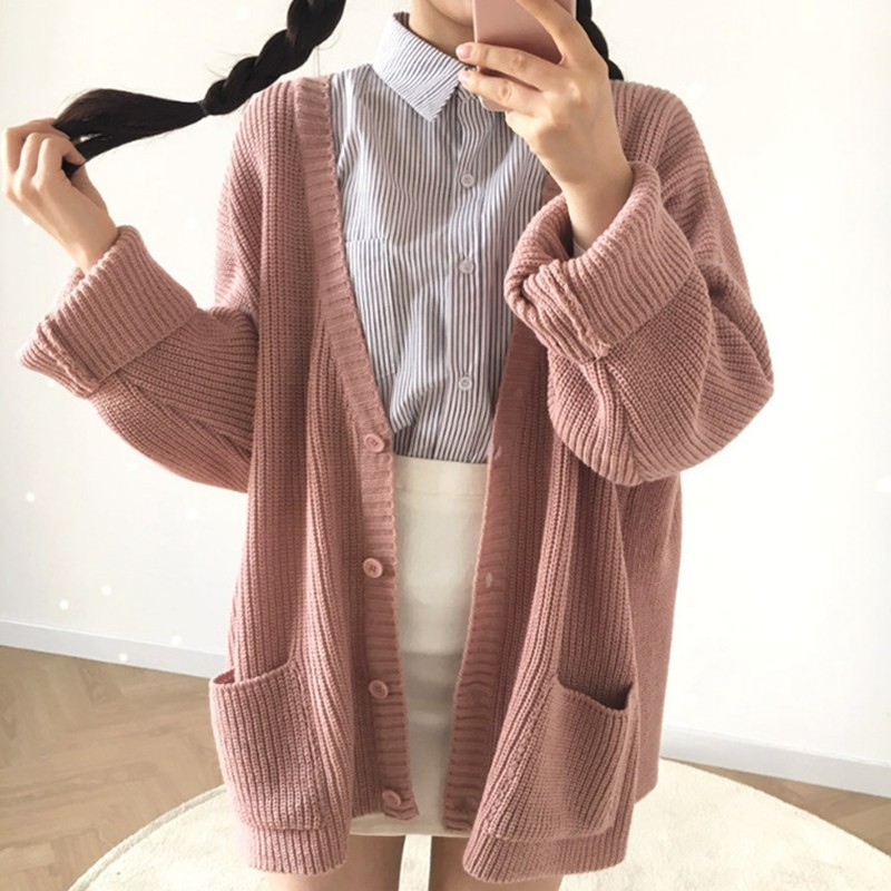 Korean version of the loose single-breasted sweater ladies jacket