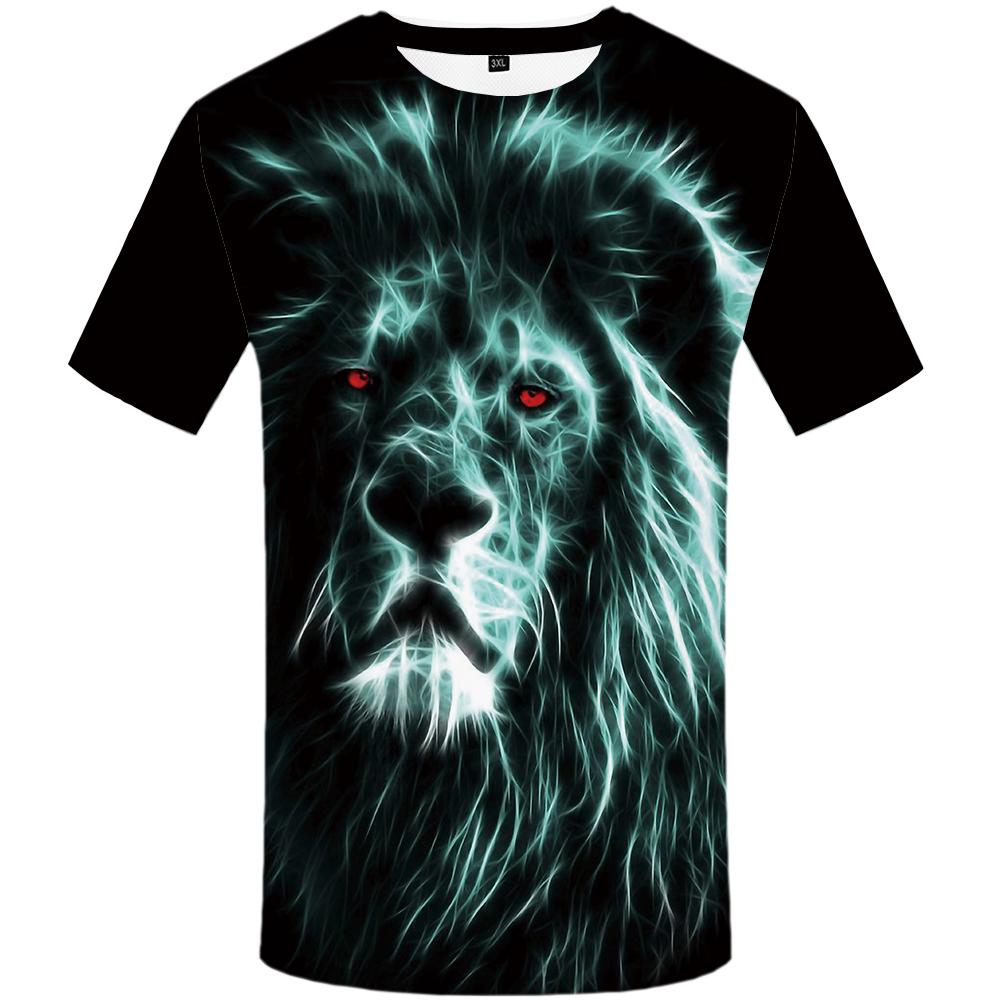 f9084fa51f74 Lion T-shirts Men Animal Tshirt 3d Black Tshirts Printed Unisex Casual  Summer
