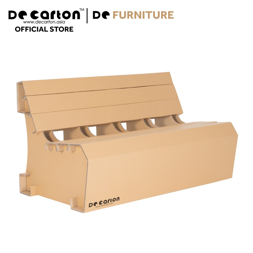 De Carton Cardboard Bench with Backrest