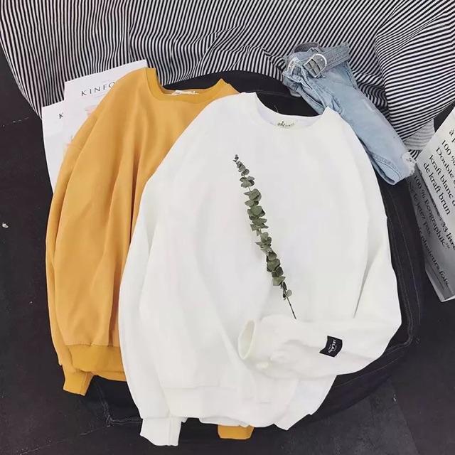 [M~2XL]Korean Men Clothes Round Neck Long Sleeve Sweater 纯色卫衣男韩版宽松圆领上衣服百搭休闲长袖T恤情侣装外套小清新