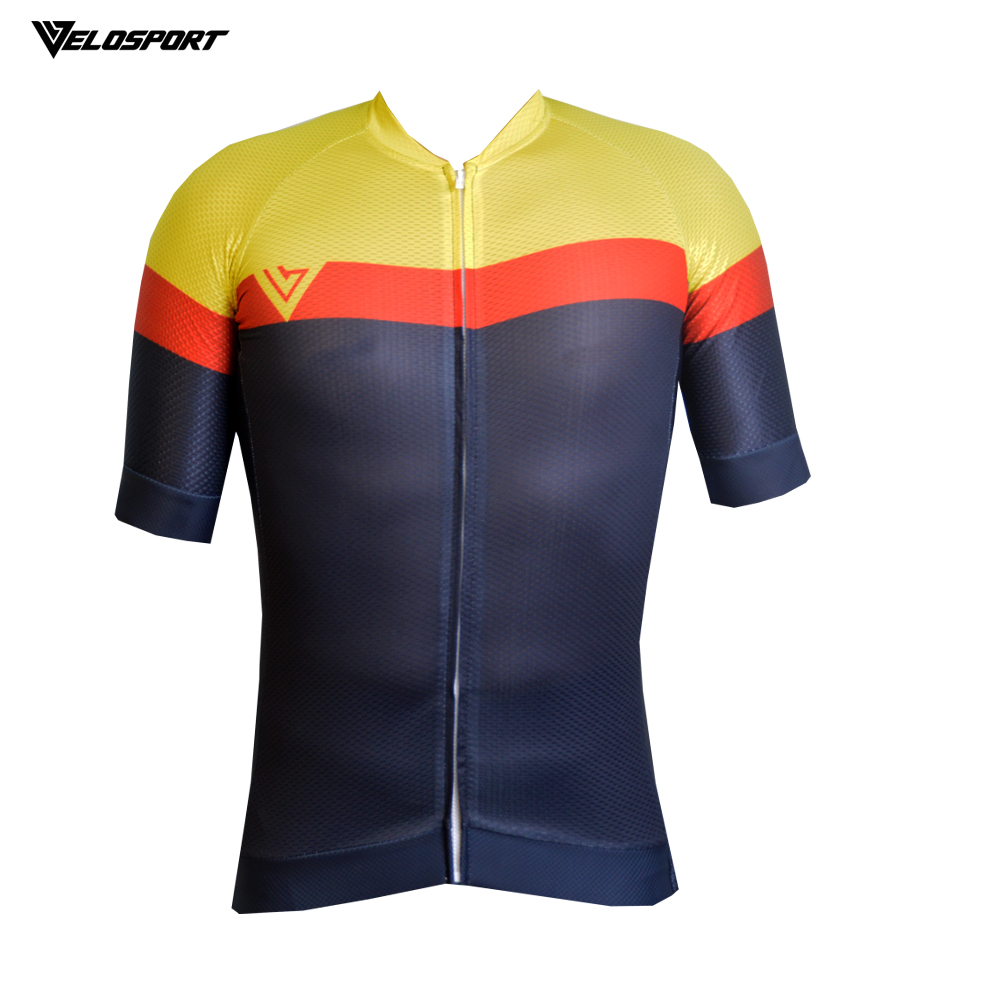 VELOCITY Premium Quality Cycling Jersey With Italian Tape 4 Material Short Sleeve Jersey Top