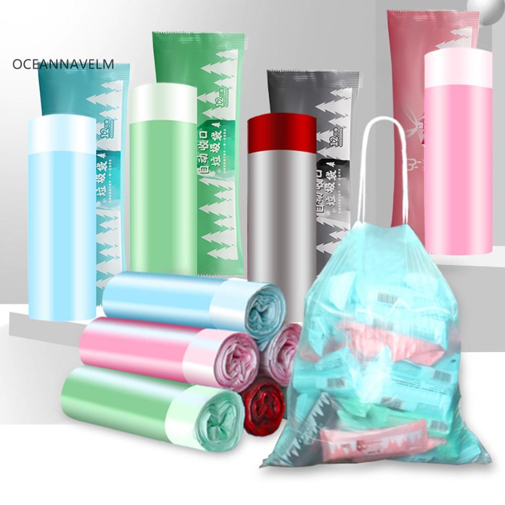 1Roll Kitchen Trash Garbage Drawstring Bag Thicken Waste Rubbish Storage Bags