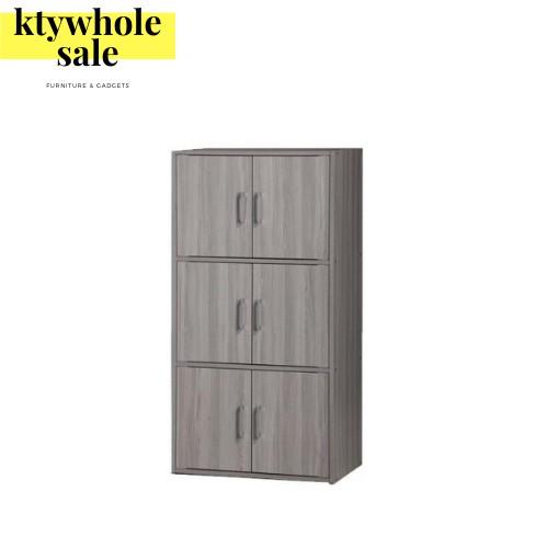 KTY DIY 3 Tier 6 Doors Book Rack / Filing Cabinet / Multipurpose Storage Cabinet /Cupboard/ Rak Simpanan/书橱储物柜 (SU 9300)