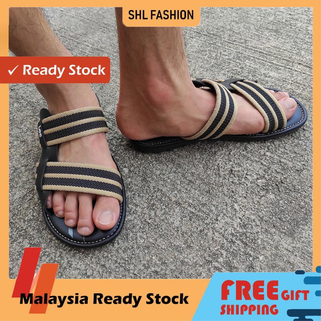 SHL Men PU Leather/Linen Casual Sandal Slip On Selipar Kasut Lelaki size 40-44【男士凉拖】-8912
