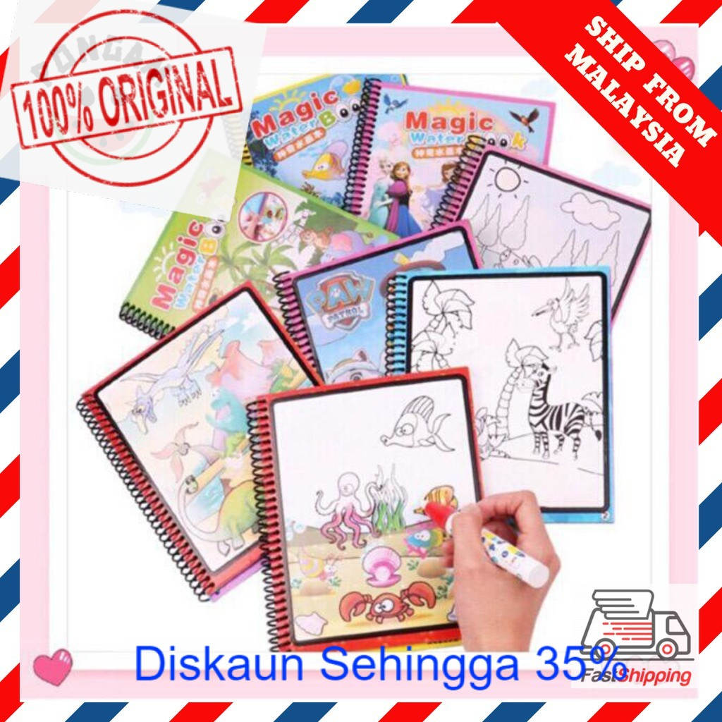 READY STOCK HOT ITEM  [FREE Magic Pen] Kids Magic Water Reusable Coloring Book Buku Ajaib Mewarna 颜色书