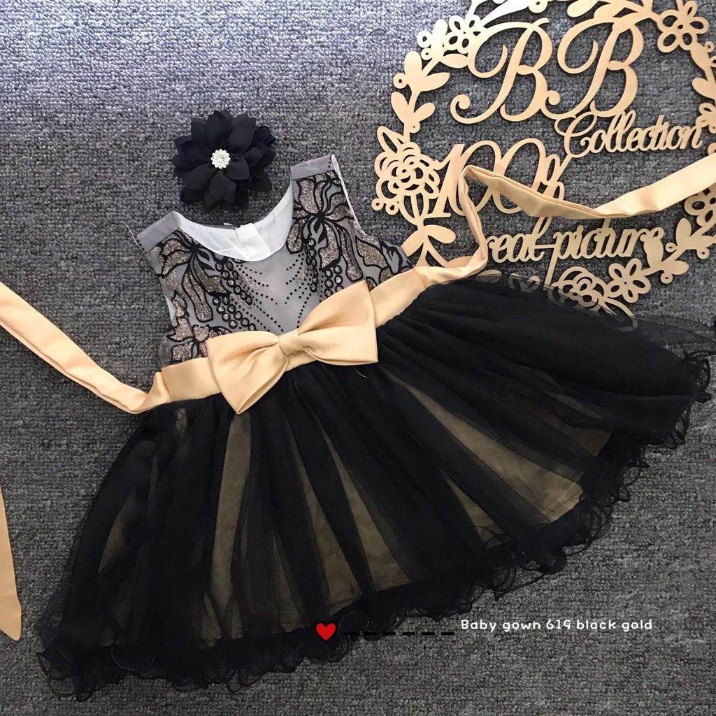 [Ready Stock} Baby Dress / Baby Gown / Dress Akikah / Dress Baby Raya Black-Gold Colour (6m, 9m, 12m, 18m, 24m, 3y)