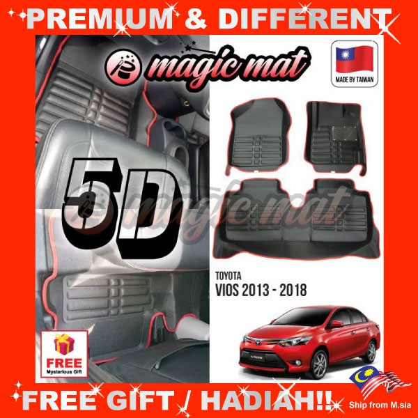 [FREE GIFT Gift] TOYOTA VIOS 2013 - 2018 (5 Seater) MAGIC MAT 5D OEM PU Leather Floor Mat Anti-Slip Easy Clean Carpet