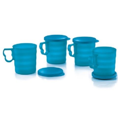Tupperware Blossom Mug with Seal 350ml (4pcs)