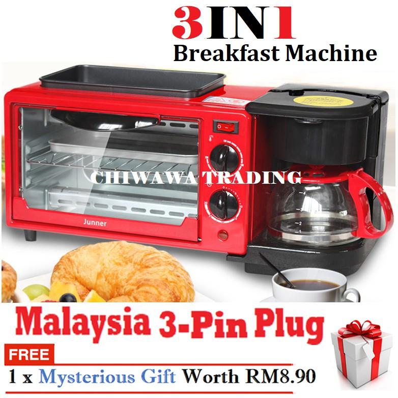 【Malaysia 3-Pin Plug】3IN1 Toaster Oven Coffee Maker Breakfast Machine / Ketuhar