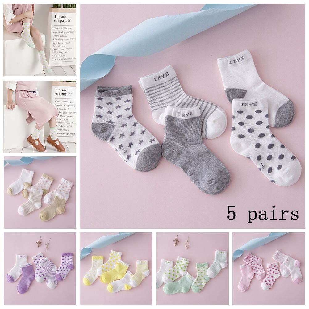 3d9947816b664 5 Pairs Baby Boy Girl Cotton Stars Socks New Born Infant Toddler Kids Warm