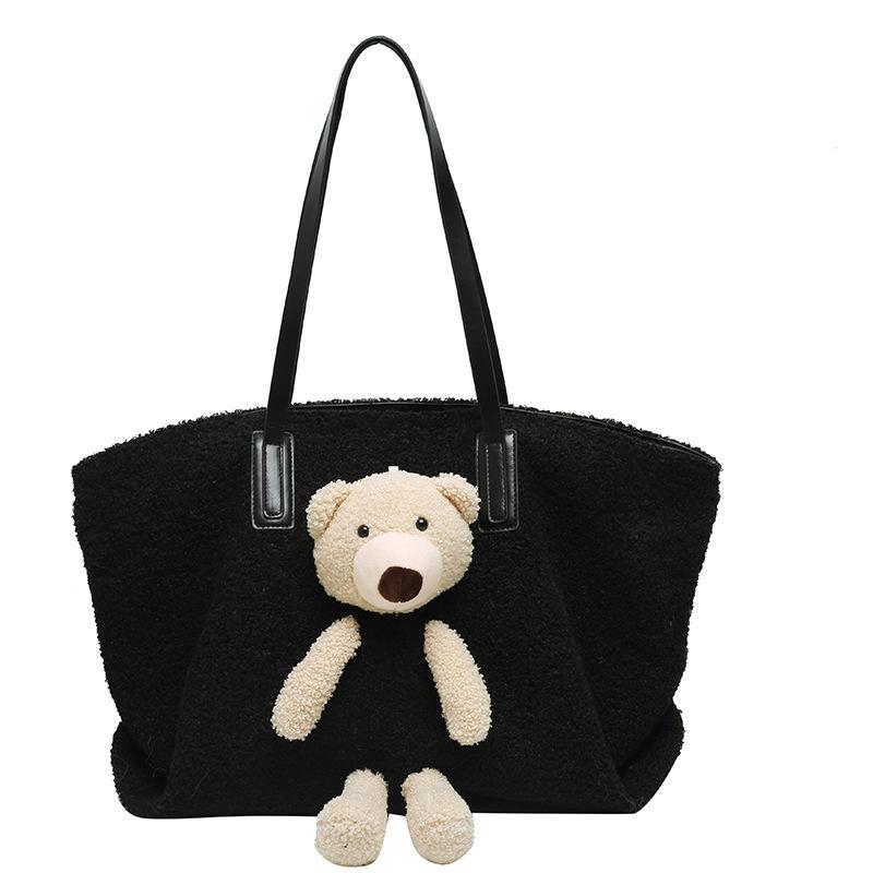 GDeal Cute Teddy Tote Bag Large Capacity Handbag Lamb Hair Bag Women Autumn Winter Fashion