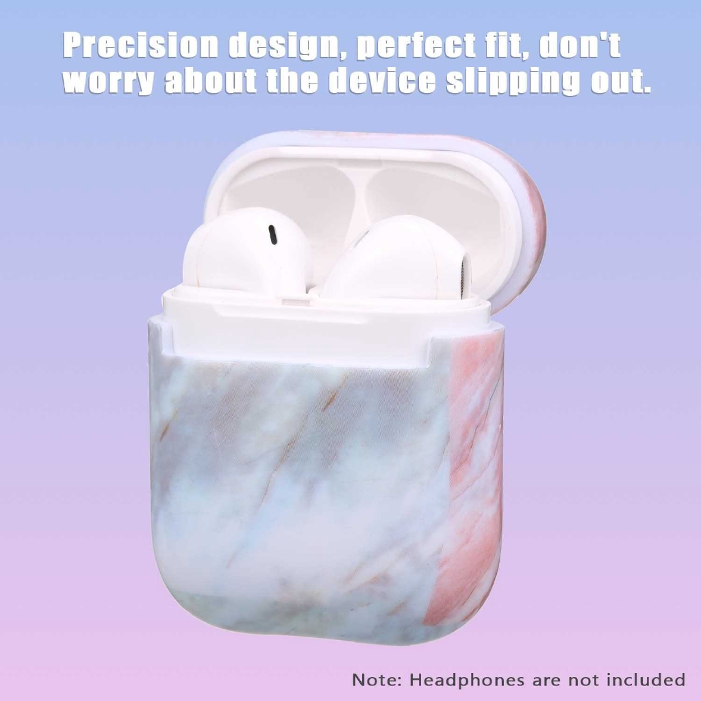 Headphone Protective Case Compatible with AirPods Hard Marble Box for Headphones Shockproof Case (Black)