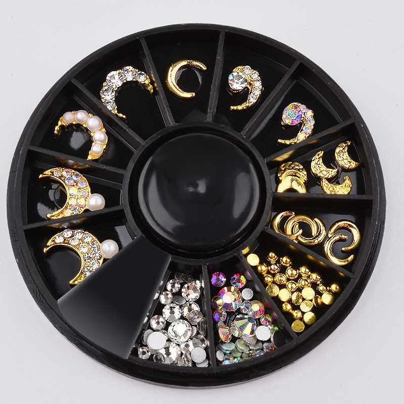477f339520 New 1 Box Crescent Moon Design Gold Color Jewelry Nail Art Decorations And  Shiny Crystal Rhinestones Gem 3D Manicure