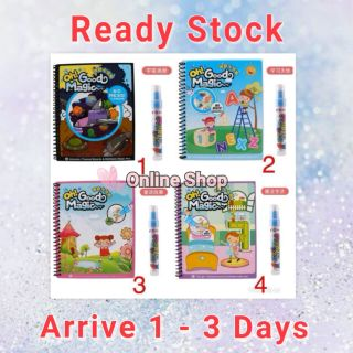 (ReadyStok) FREE PEN]Water Air Kids Magic Drawing Book Colour Coloring Colouring