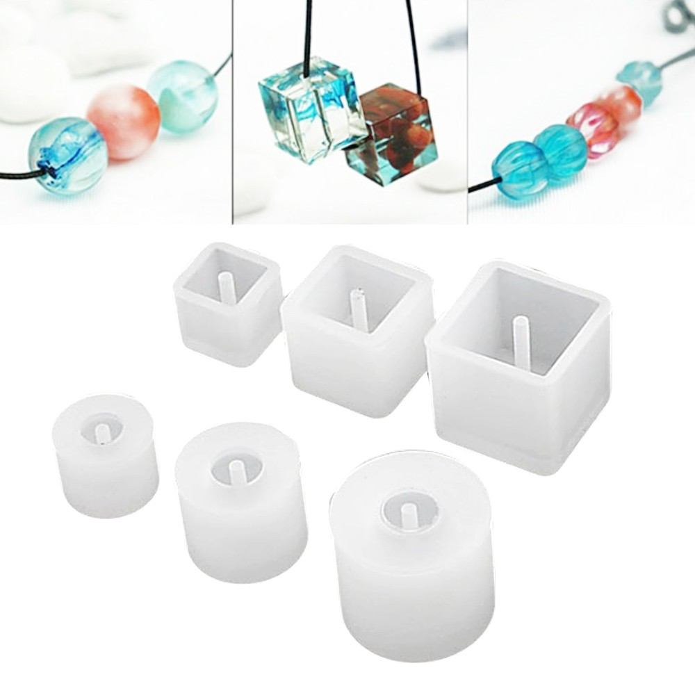 6x Silicone Pendant Sphere Beads with Hole Mold Jewelry Making Tools Mould