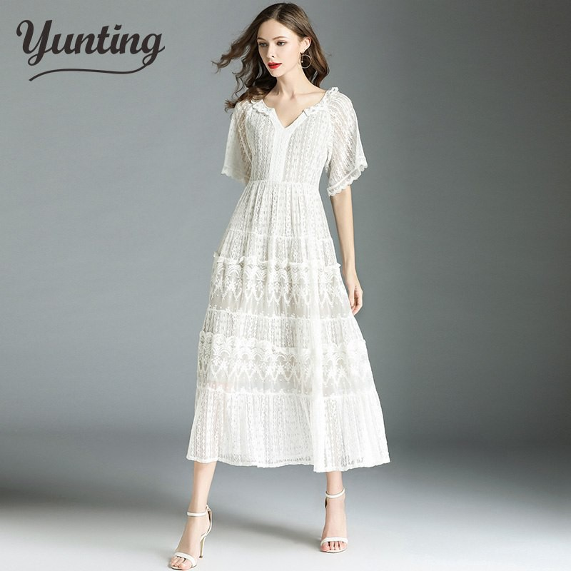 differently first look cozy fresh Summer Lace Dress Work Casual Slim Work Women Party Dresses V-neck ...