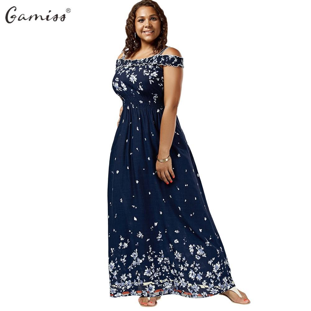 5bb9ff311d025 Wandergo Gamiss Women Empire Waist Maxi Dresses Plus Size Floral Print Cold