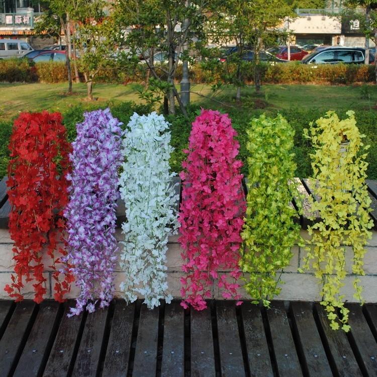 Bouquet Artifical Bracketplant Hanging Ivy Vine Silk Flower Home Garden Decor