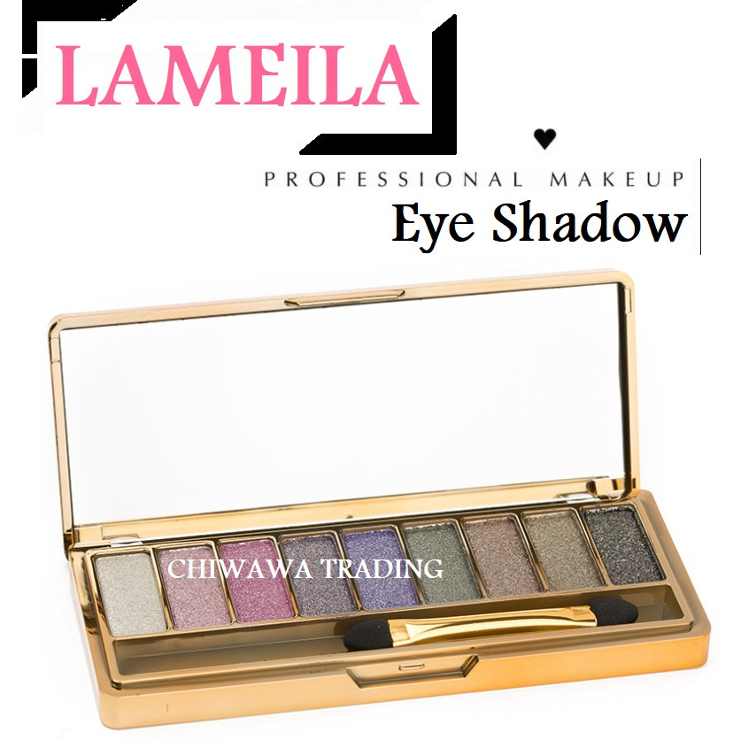 9 Colorful Eyeshadow Palette Cosmetic Smoky Glitter Palette + Free Brush