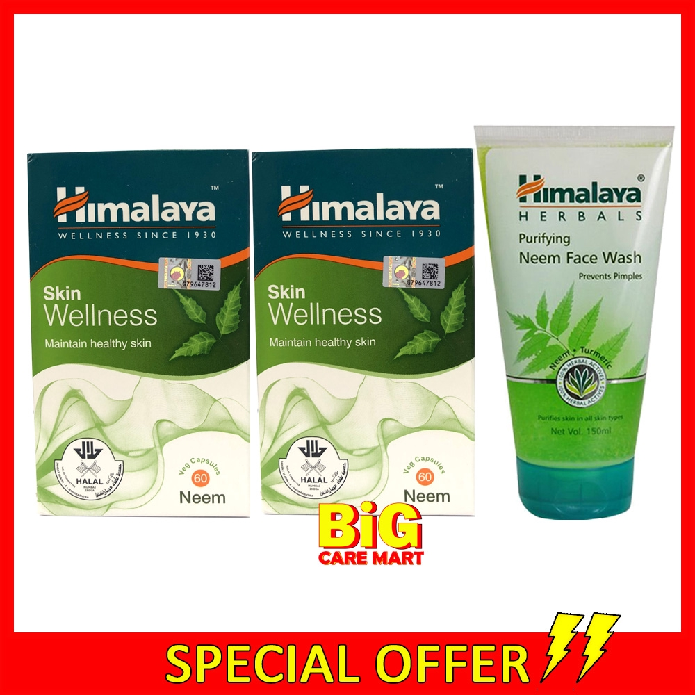 Himalaya Neem Skin Wellness 60s X 2 + FREE Neem Wash 150ml