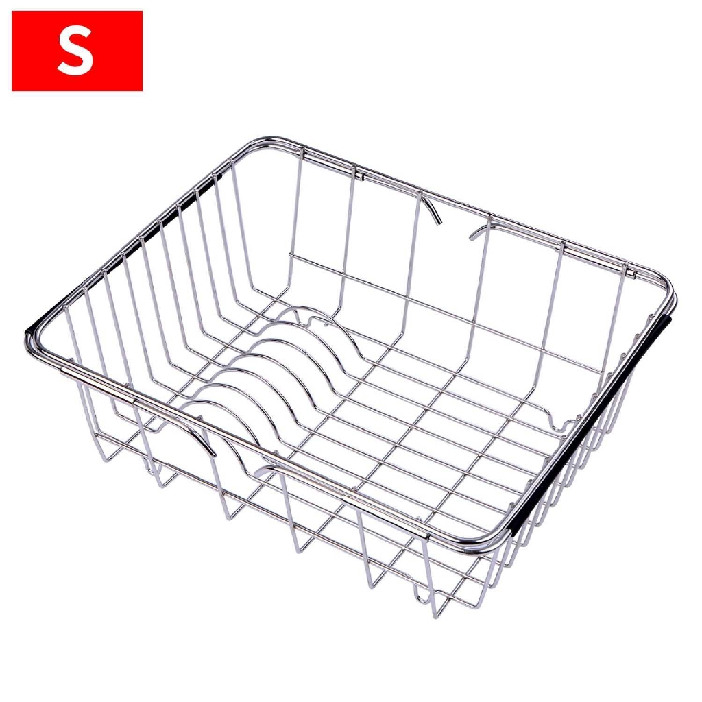 Dish Sink Rack Over Sink Drying Bowl Holder Stainless Steel Vegetables Washing Basket Kitchen Shelf Cutlery Drainer wit