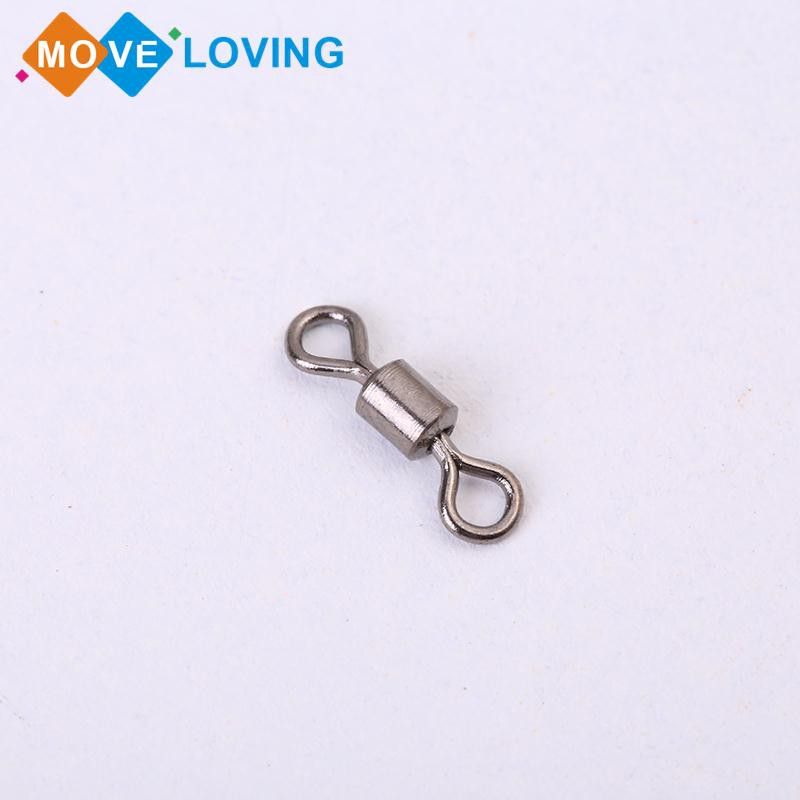100PCS Fishing 8 Barrel Rolling Swivel Ring Connector Cylindrical  Accessories