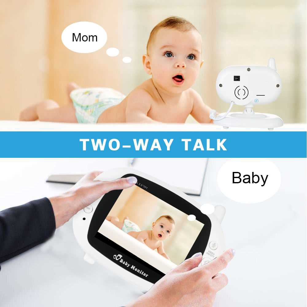 Video Baby Monitor Baby Security Camera With 3.5' TFT LCD 2 Way Talkback 2.4GHz Digital Infrared Night Vision Temperat