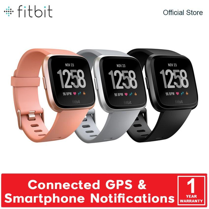 Fitbit Versa Health & Fitness Smart Watch FB505 - Black / Peach / Grey