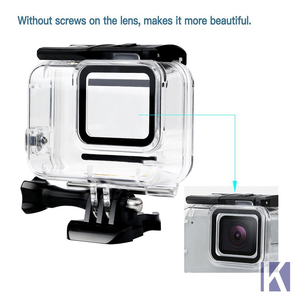 ❃KEM❃Waterproof Case Housing for Gopro Hero 7 Silver White Underwater  Protection