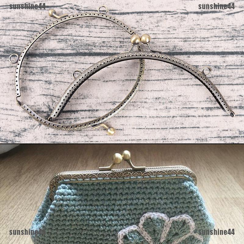 1pc Retro Alloy Metal Flower Purse Bag DIY Craft Frame Kiss Clasp Lock Silver