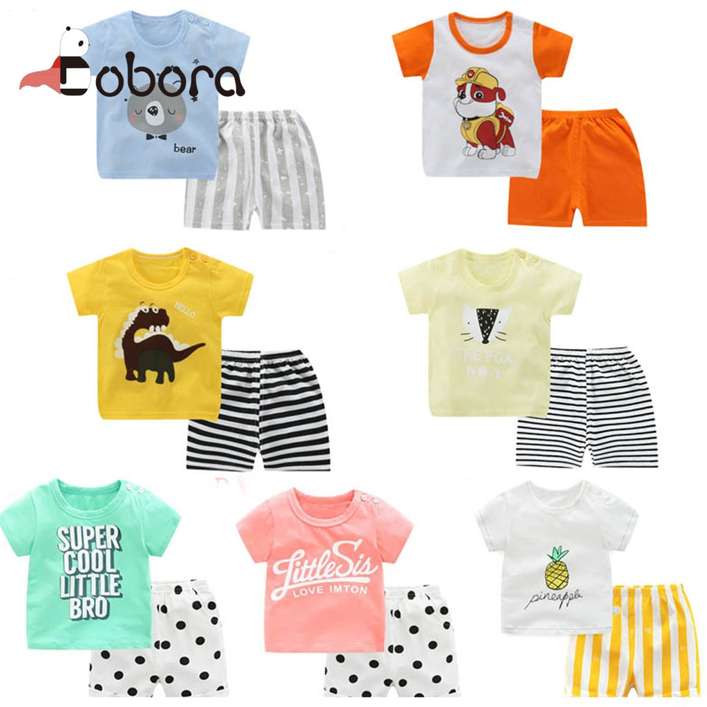 d9f6d36eb1725 BOBORA Summer Baby Boys Girls Short Sleeve Cartoon T-shirt Shorts Toddler  Set