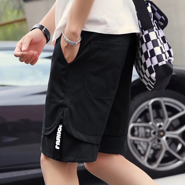 [M~5XL]Men Clothing Loose Casual Pants 夏季沙滩短裤男士休闲裤夏天宽松大裤衩中裤五分马裤子男潮