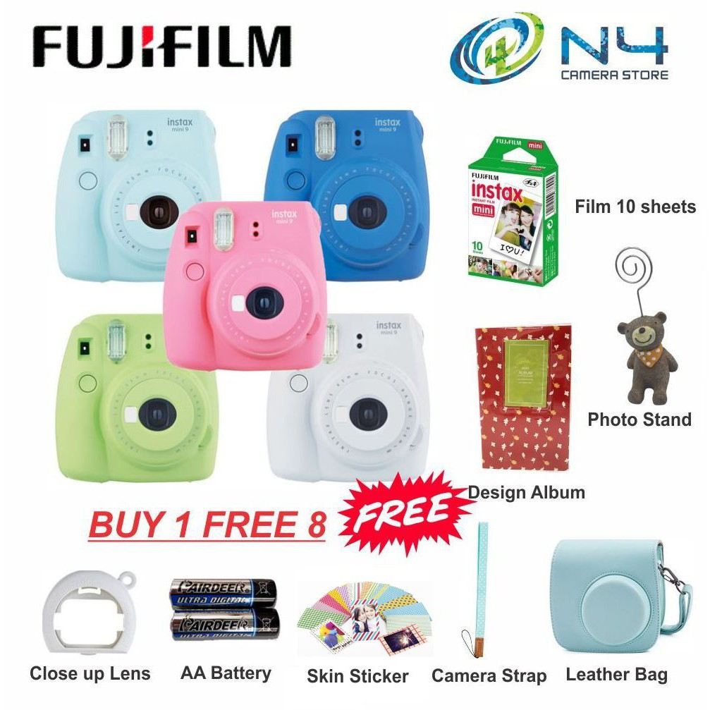 Fujifilm Instax Mini 9 Leather Package (Buy 1 Free 8) (Fujifilm Malaysia Warranty)