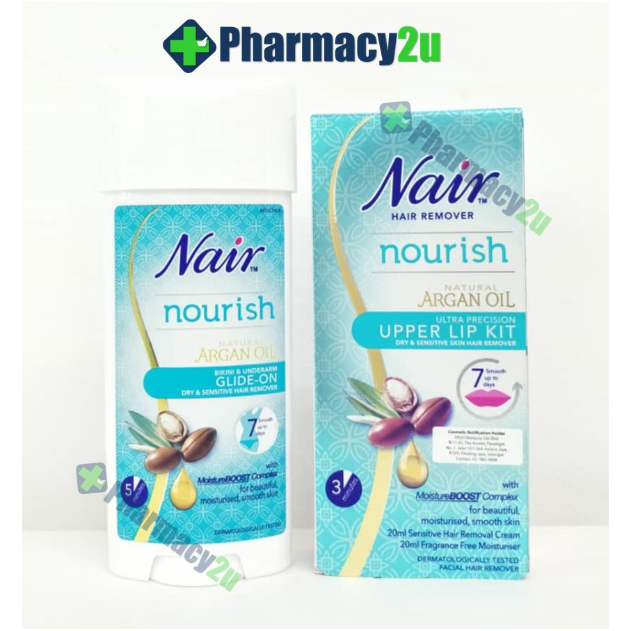 Nair Nourish Upper Lip Kit 40ml Bikini Underarm Glide On 100ml
