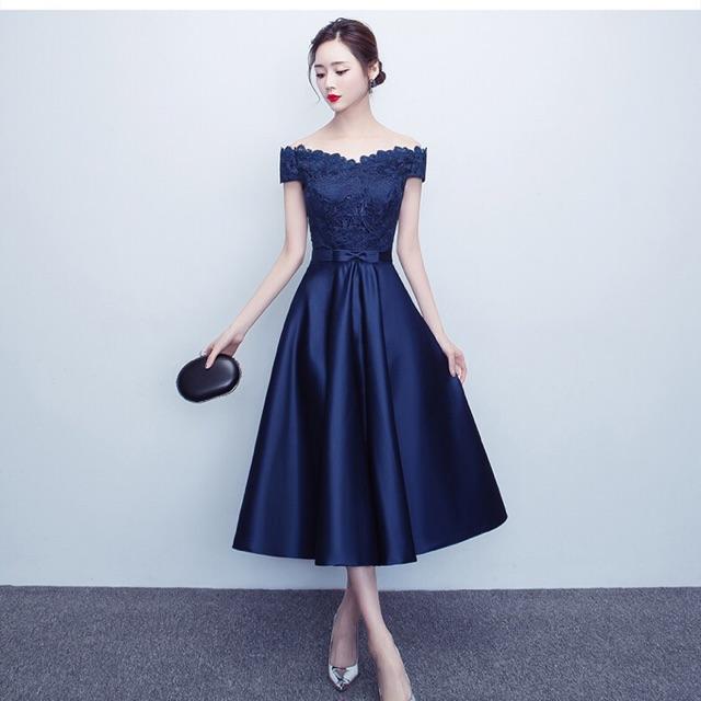 82c9df40c6329 Pretty Dinner dress with mediam long(blue,red,dark red colour)
